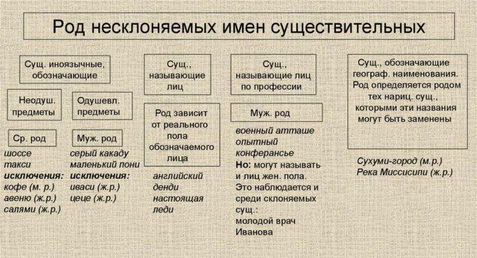 Род несклоняемых существительных - порядок определения