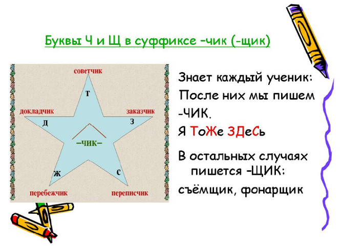 Правило для суффиксов -чик -щик в существительных