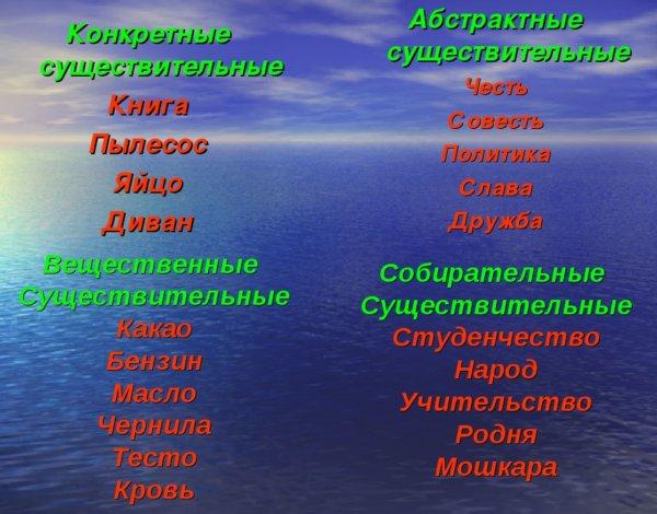 Отличительные особенности конкретных и неконкретных существительных