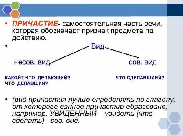 Виды причастий в русском языке: какие бывают, примеры