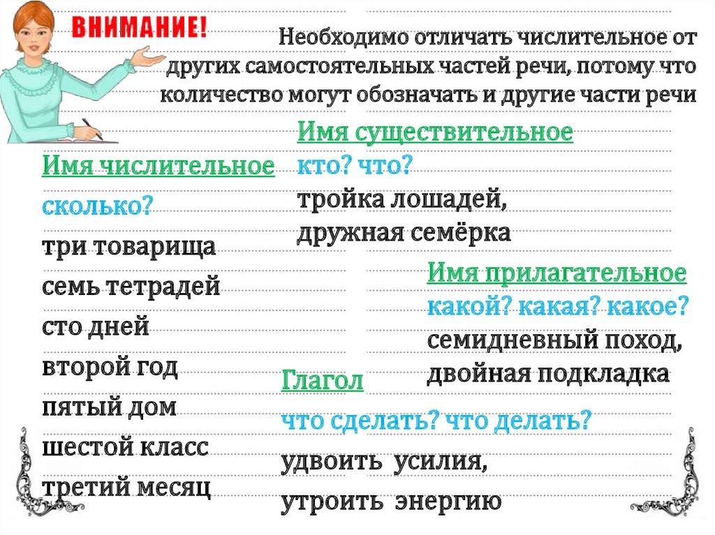 Отличия числительных от других частей речи